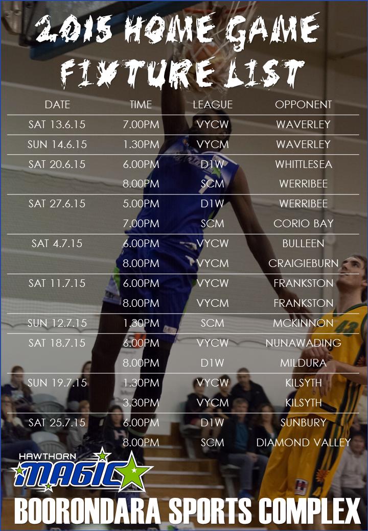 2016 Big V Fixture List Rd12